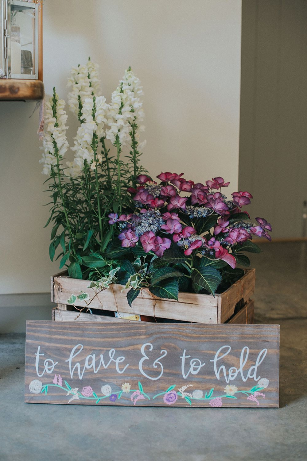 Wooden Crate Flowers Sign Signage Houchins Farm Wedding Julia and You Photography