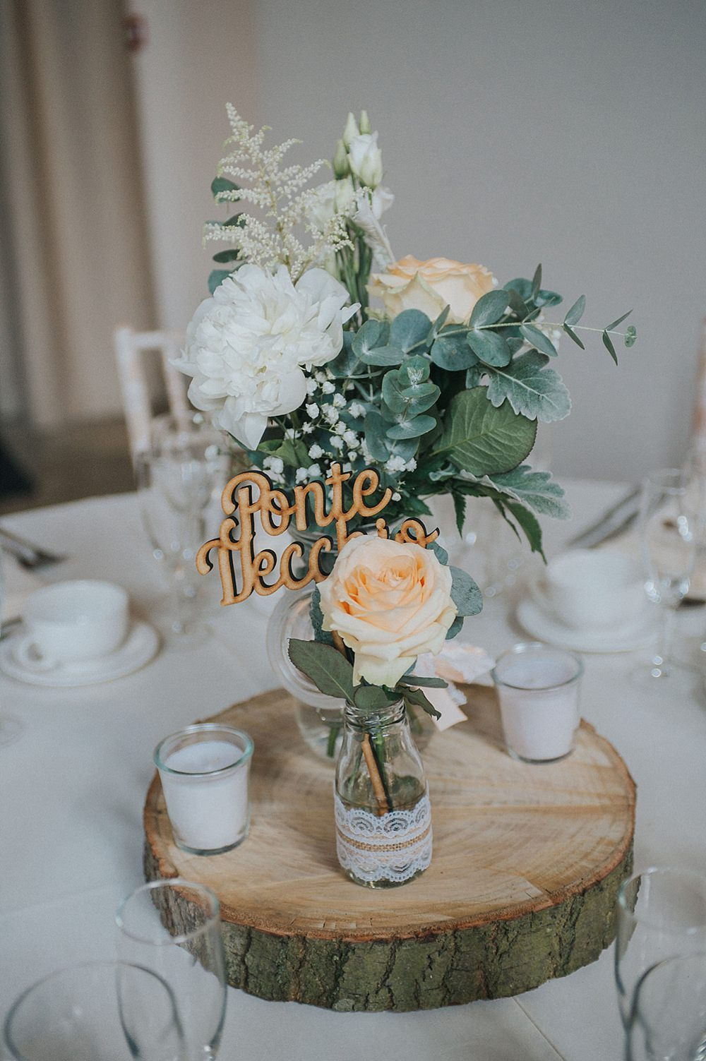 Centrepiece Table Flowers Decor Log Slice Peach Ivory Houchins Farm Wedding Julia and You Photography