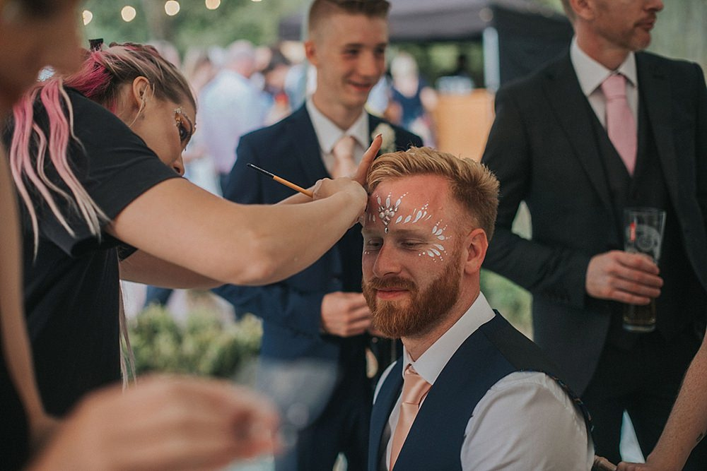 Glitter Make Up Groom Houchins Farm Wedding Julia and You Photography