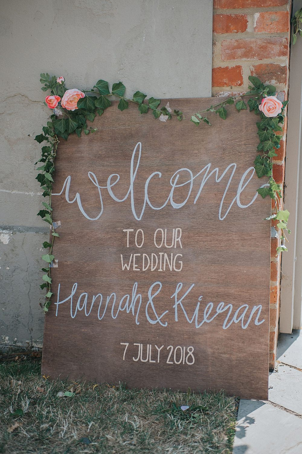 Wooden Sign Signage Floral Calligraphy Houchins Farm Wedding Julia and You Photography