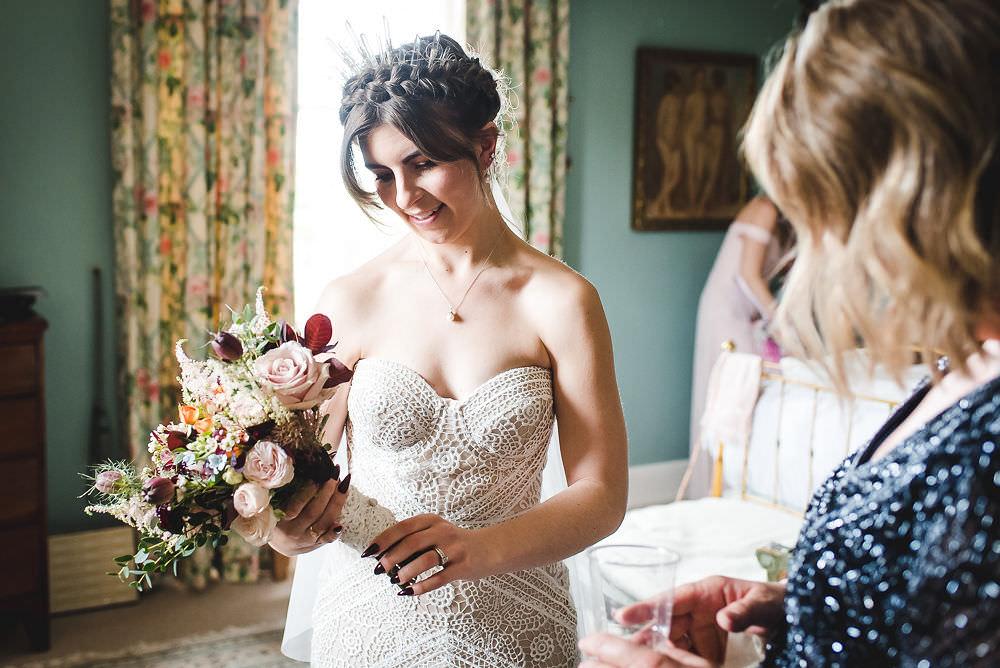 Bride Bridal Rue de Seine Dress Gown 70s Boho Headdress Crown Langar Hall Wedding Robert Leons Photography