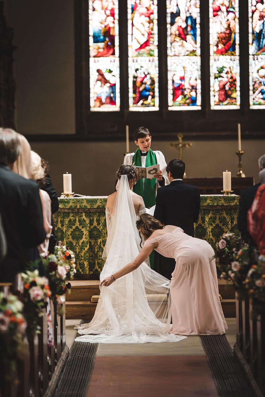 Bride Bridal Rue de Seine Dress Gown 70s Boho Sleeves Headdress Crown Morning Suit Groom Veil Langar Hall Wedding Robert Leons Photography