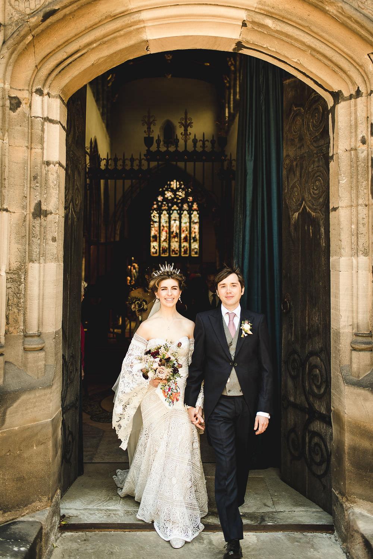 Bride Bridal Rue de Seine Dress Gown 70s Boho Sleeves Headdress Crown Morning Suit Groom Langar Hall Wedding Robert Leons Photography