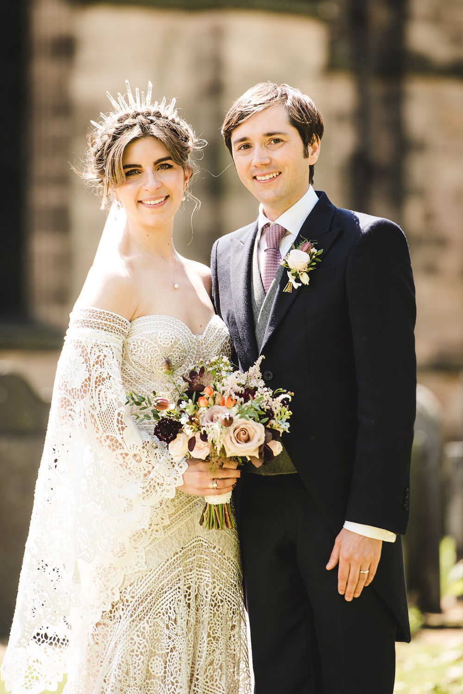 Bride Bridal Rue de Seine Dress Gown 70s Boho Sleeves Headdress Crown Morning Suit Groom Bouquet Langar Hall Wedding Robert Leons Photography