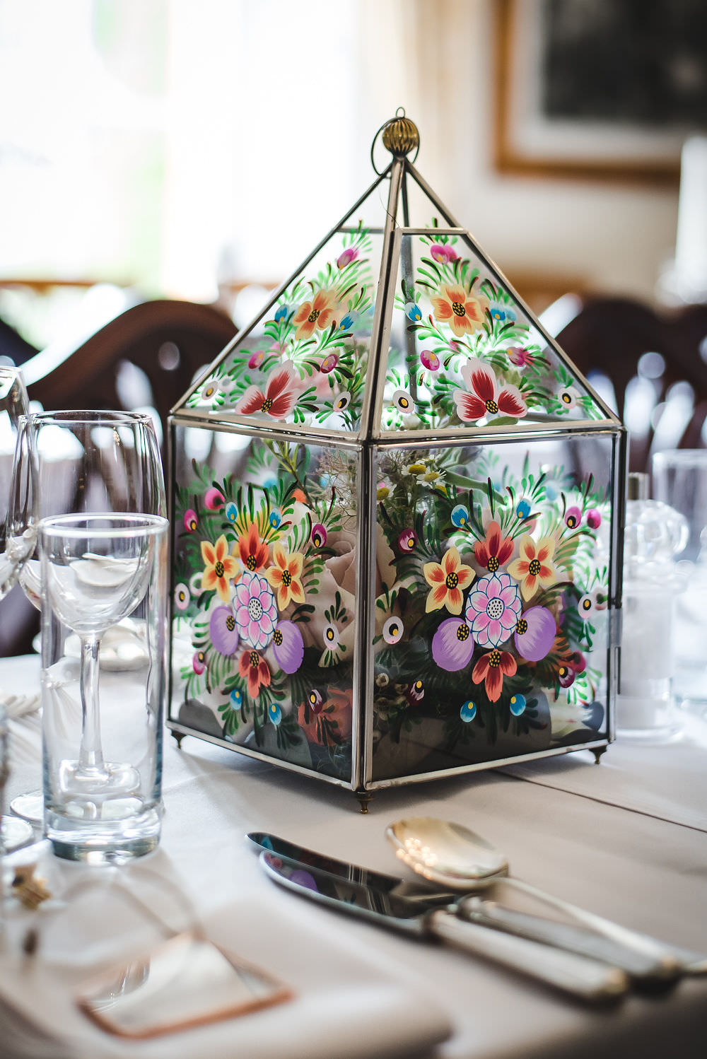 Hand Painted Terrarium Table Centre Flowers Floral Langar Hall Wedding Robert Leons Photography