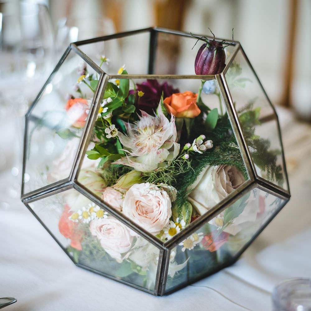 Terrarium Flowers Floral Langar Hall Wedding Robert Leons Photography