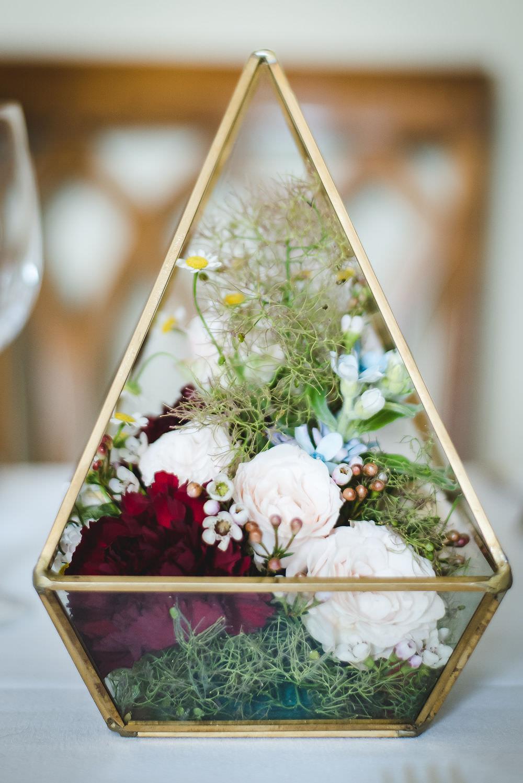 Geometric Terrarium Flowers Floral Table Centre Langar Hall Wedding Robert Leons Photography