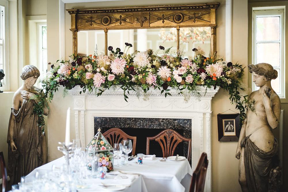 Fireplace Floral Installation Runner Garland Langar Hall Wedding Robert Leons Photography