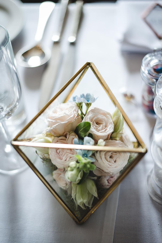 Terrarium Pink Rose Flowers Floral Langar Hall Wedding Robert Leons Photography
