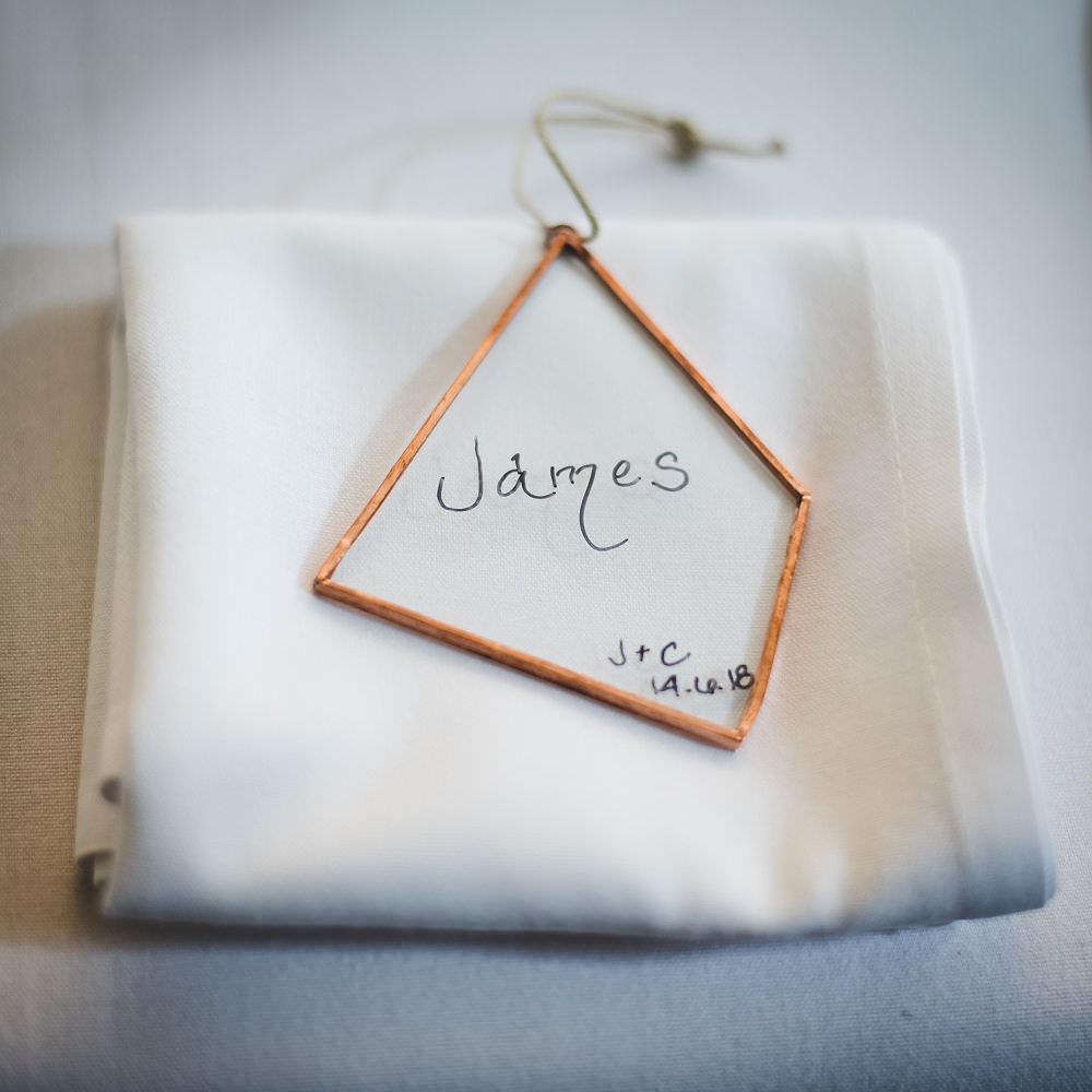 Geometric Glass Place Card Name Langar Hall Wedding Robert Leons Photography