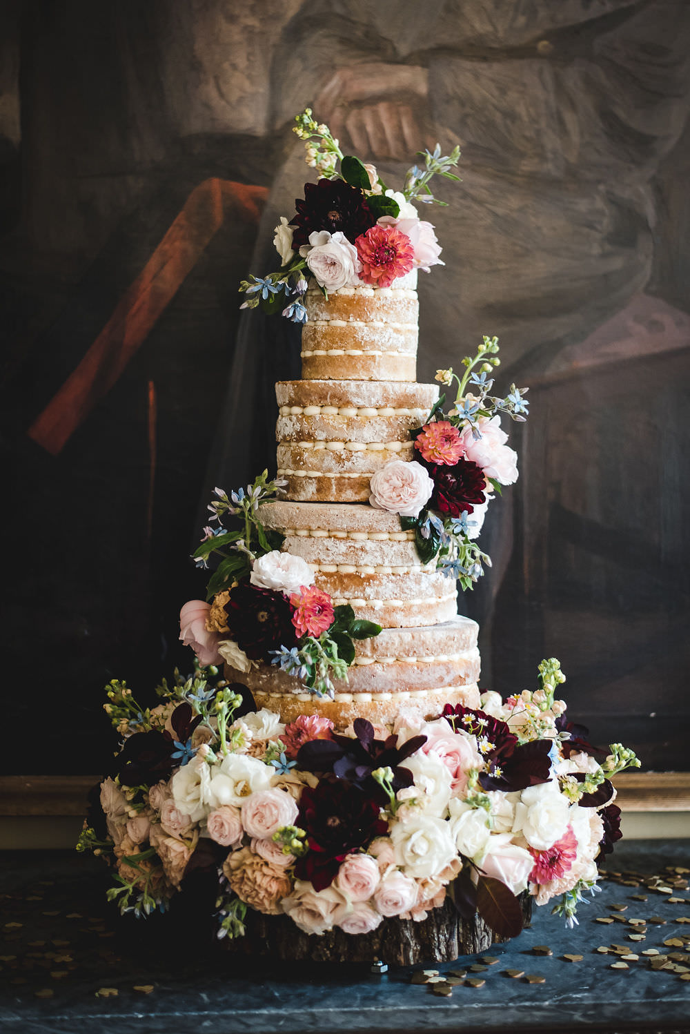 Four Tier Naked Cake Fresh Flowers Decorated Langar Hall Wedding Robert Leons Photography