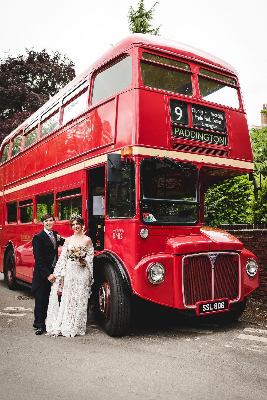 Bride Bridal Rue de Seine Dress Gown 70s Boho Sleeves Headdress Crown Morning Suit Groom Vintage Bus Langar Hall Wedding Robert Leons Photography