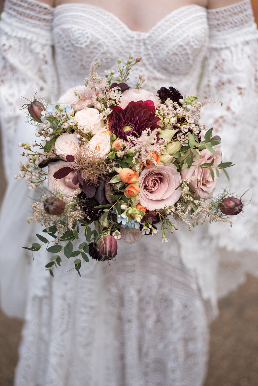 Bride Bridal Bouquet Pink Burgundy Rose Dahlia Langar Hall Wedding Robert Leons Photography