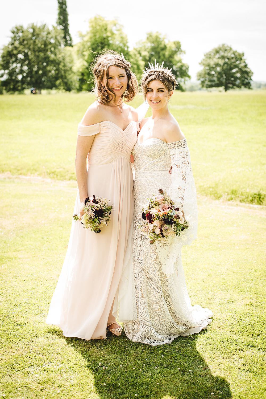 Bride Bridal Rue de Seine Dress Gown 70s Boho Sleeves Headdress Crown Drop Shoulder Pink Bridesmaid Bouquet Langar Hall Wedding Robert Leons Photography