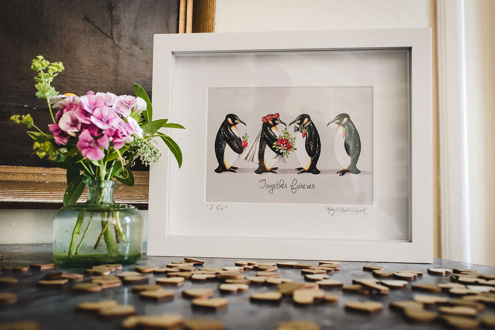 Together Forever Penguin Wooden Piece Guest Book Langar Hall Wedding Robert Leons Photography