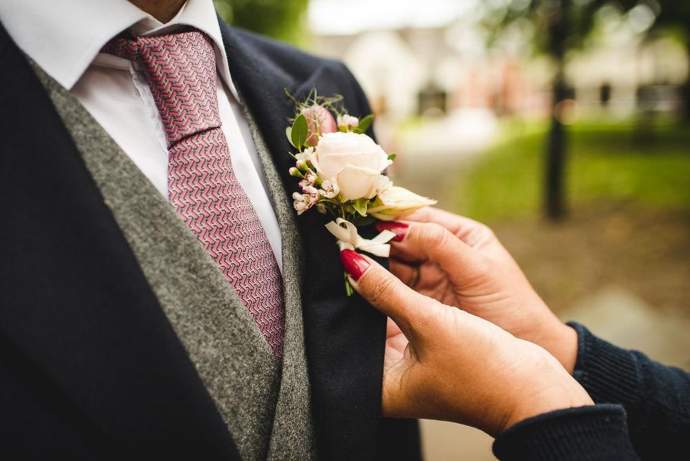 Morning Suit Groom Grey Waistcoat Navy Langar Hall Wedding Robert Leons Photography