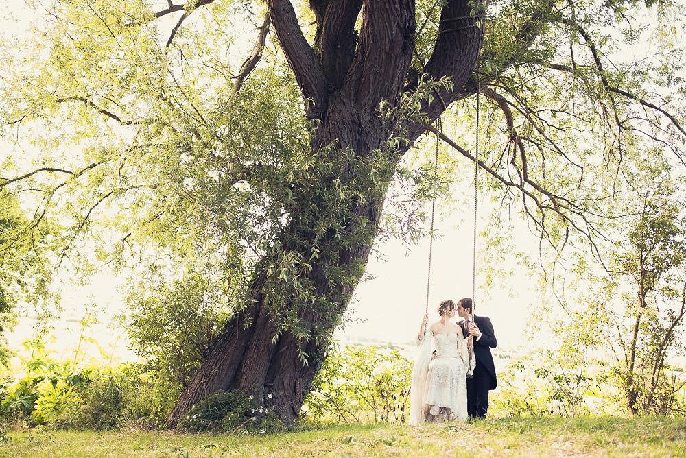 Bride Bridal Rue de Seine Dress Gown 70s Boho Sleeves Headdress Crown Morning Suit Groom Swing Langar Hall Wedding Robert Leons Photography