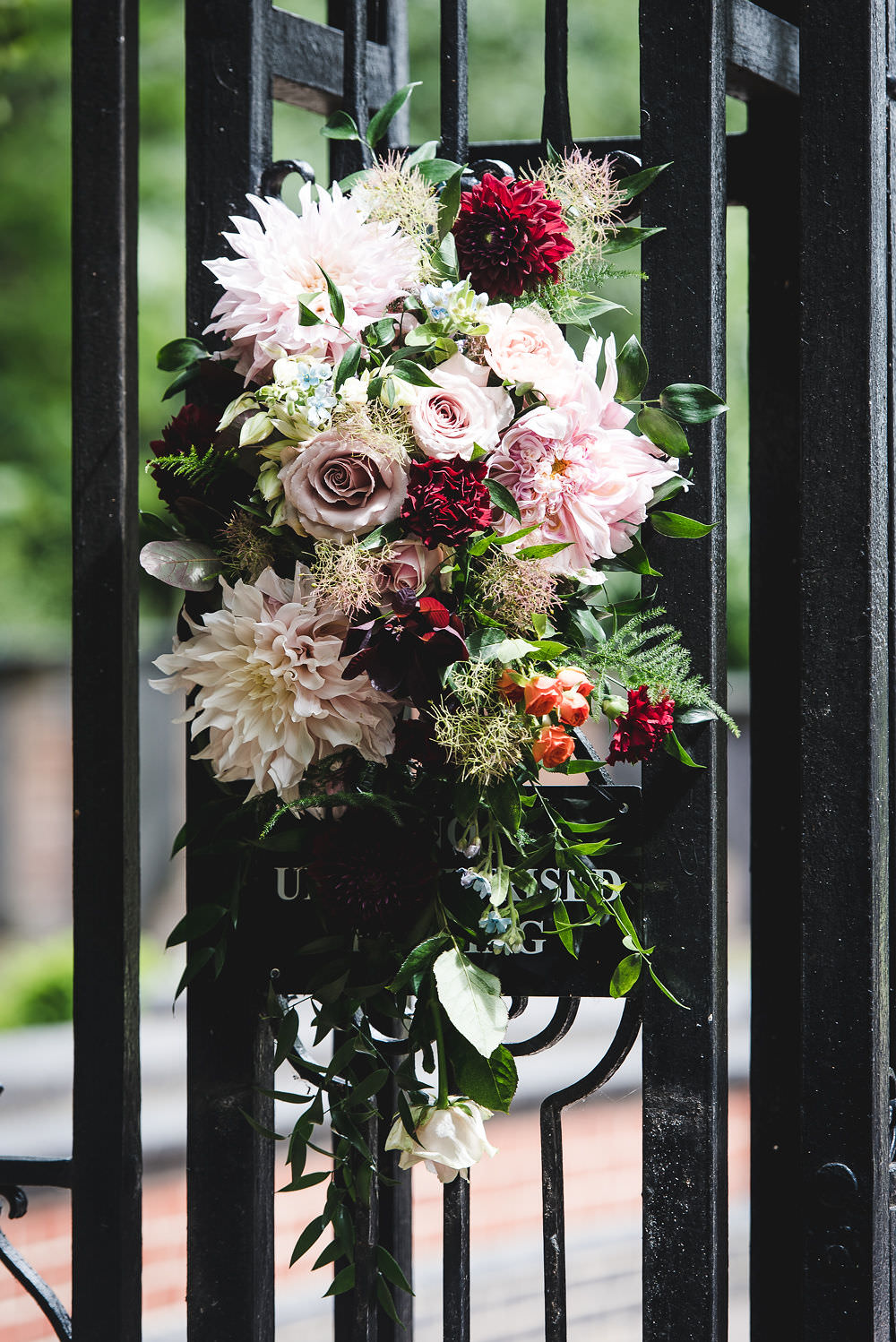 Flowers Floral Installation Pink Rose Dahlia Langar Hall Wedding Robert Leons Photography