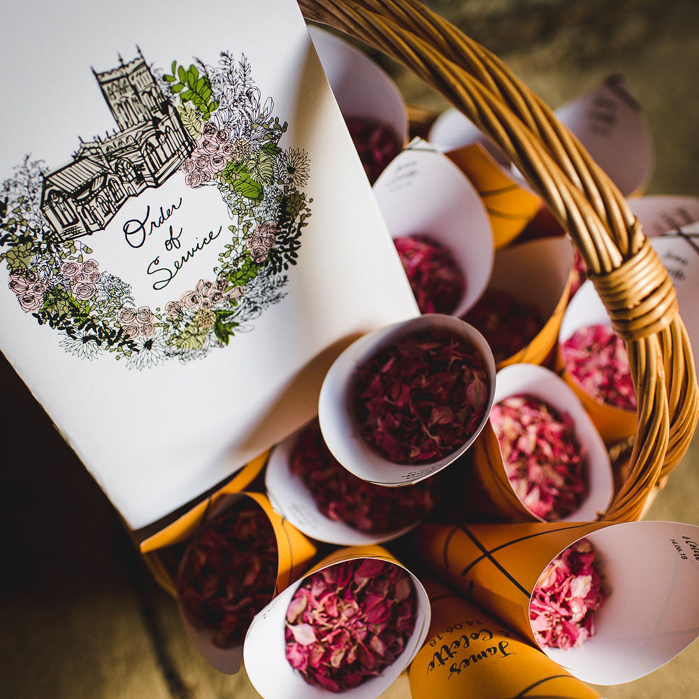 Order of Service Illustrated Confetti Cones Basket Langar Hall Wedding Robert Leons Photography