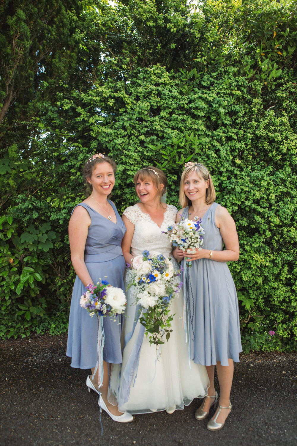 Bride Bridal Ballerina Length Dress Lace Sleeves Blue Dress Bridesmaids Posy Veil Middle Coombe Farm Wedding Emma Stoner Photo