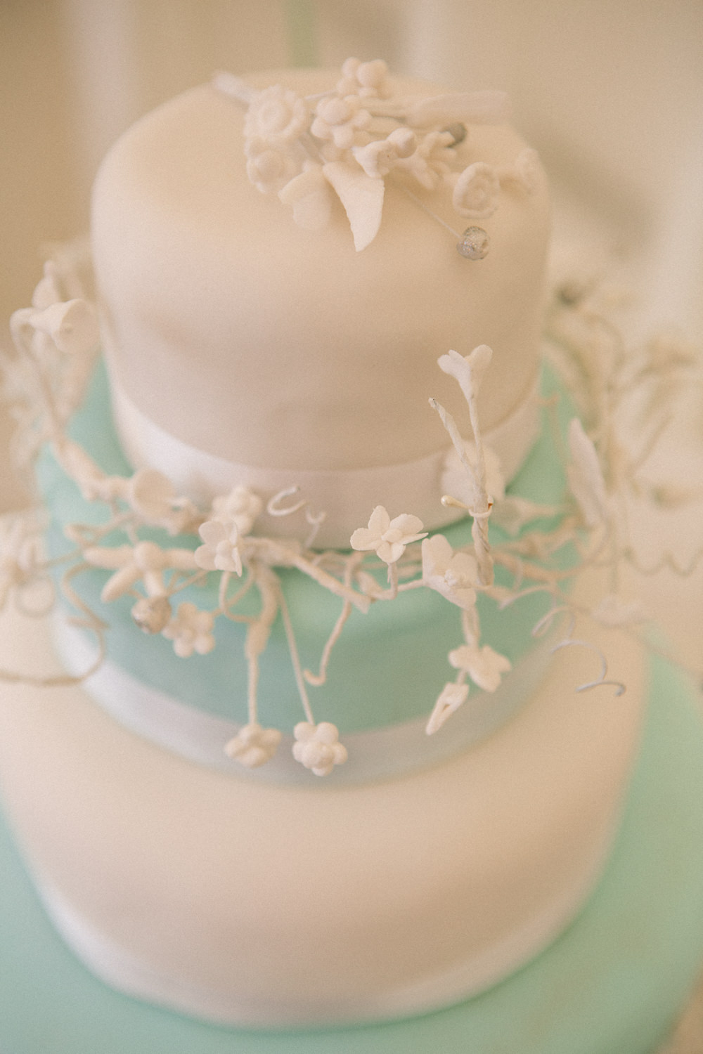Blue Iced Four Tier Cake Middle Coombe Farm Wedding Emma Stoner Photo