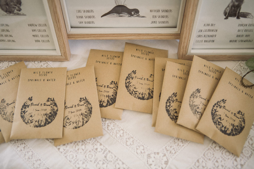 Wildflower Seeds Stamp Favours Middle Coombe Farm Wedding Emma Stoner Photo