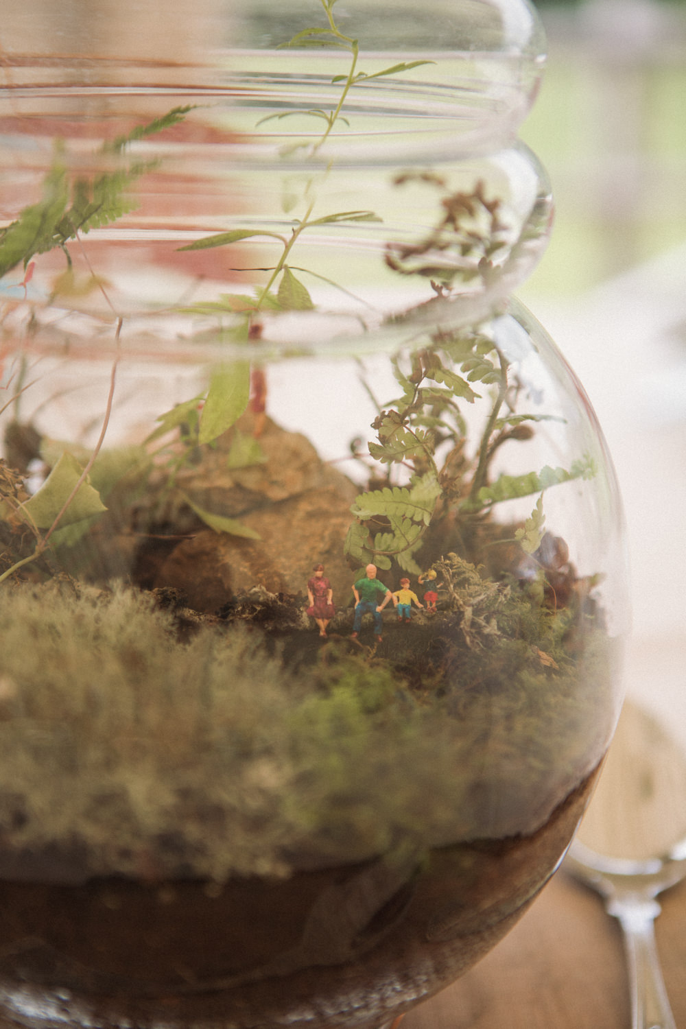 Terrarium Table Centre Miniature Figurines Middle Coombe Farm Wedding Emma Stoner Photo
