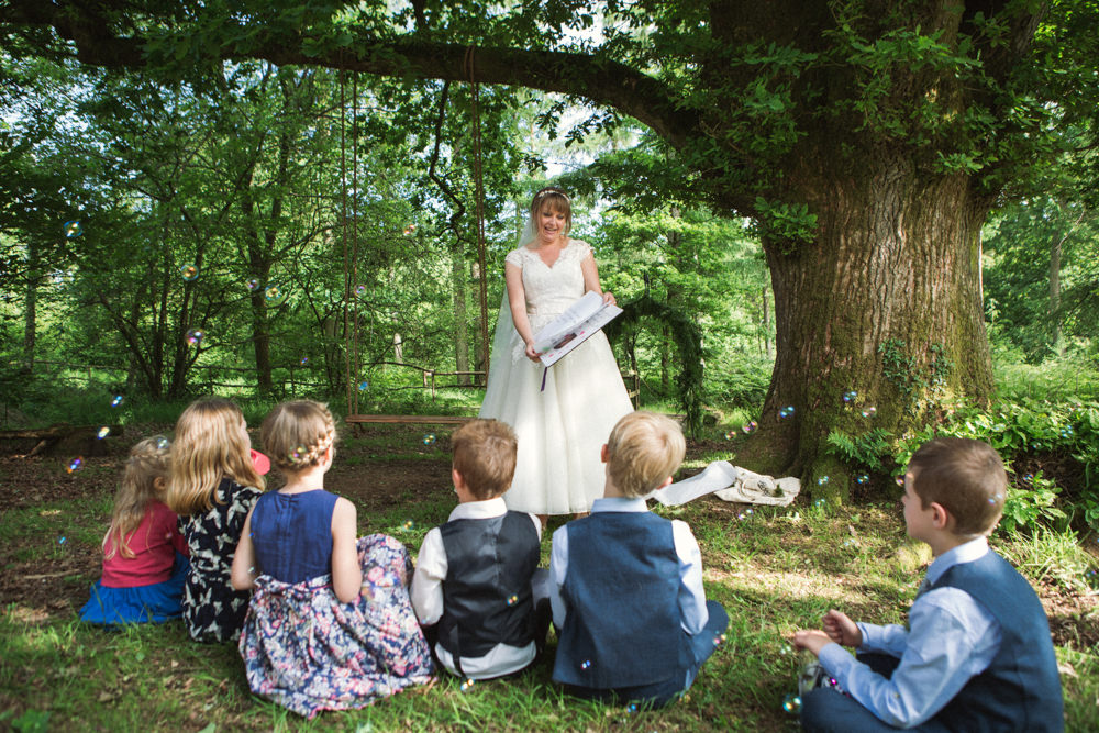 Bride Bridal Ballerina Length Dress Lace Sleeves Veil Story Speech Middle Coombe Farm Wedding Emma Stoner Photo