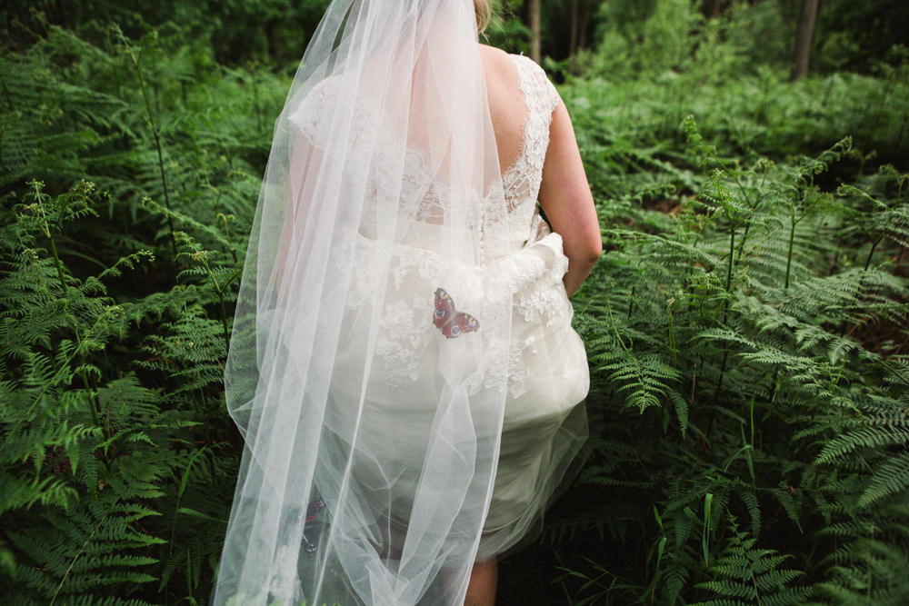 Bride Bridal Veil Butterfly Middle Coombe Farm Wedding Emma Stoner Photo