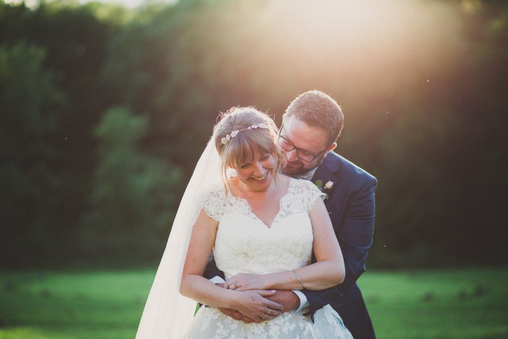 Bride Bridal Ballerina Length Dress Lace Sleeves Navy Suit Groom Veil Middle Coombe Farm Wedding Emma Stoner Photo