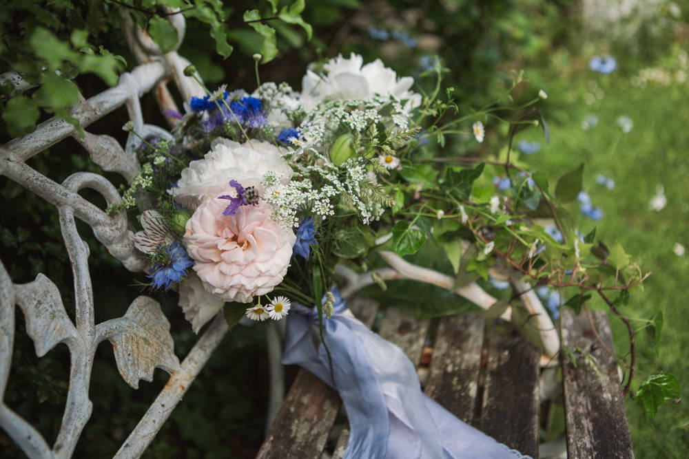 Bride Bridal Bouquet Blue Ribbon Middle Coombe Farm Wedding Emma Stoner Photo