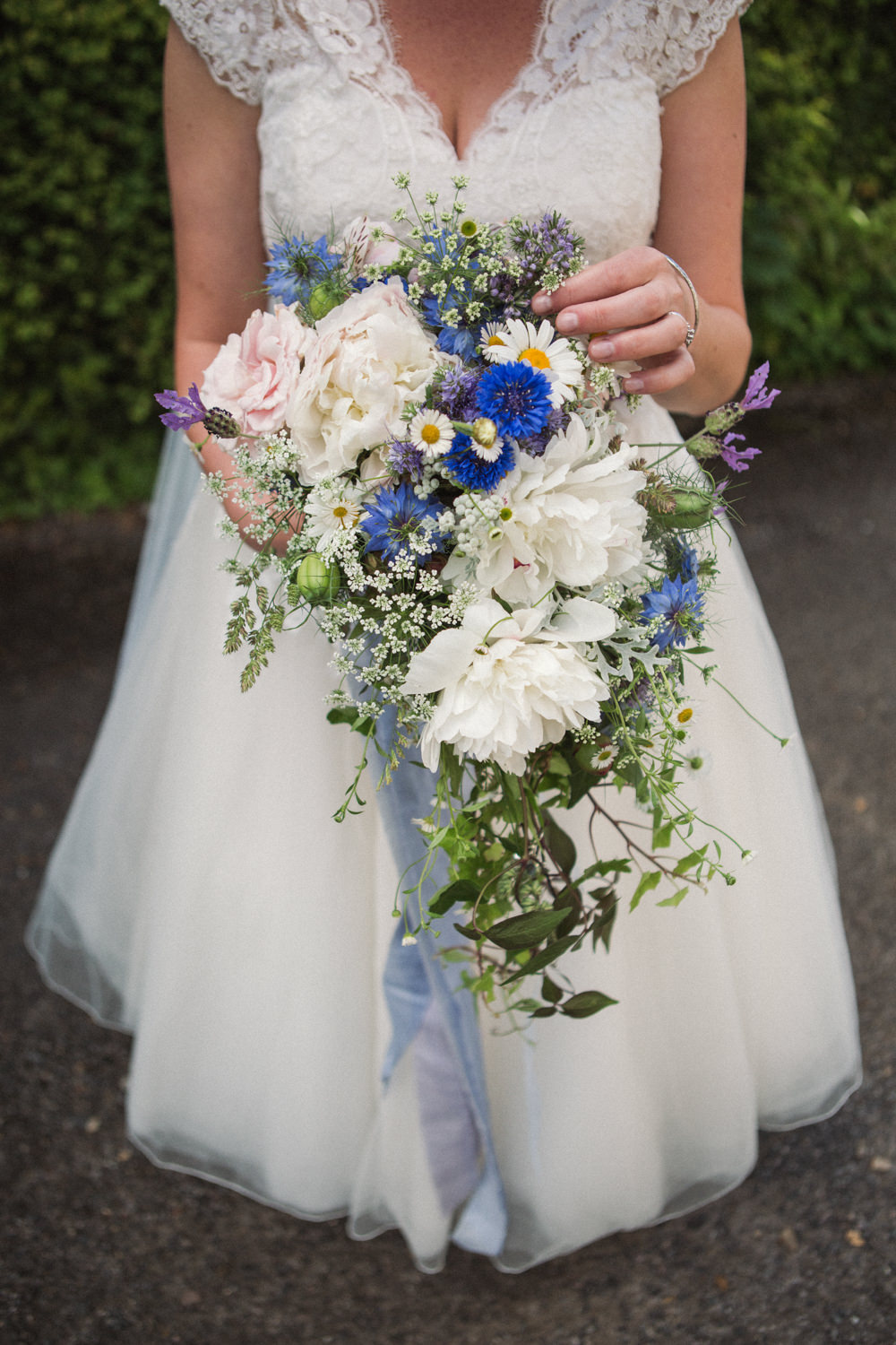 Bride Bridal Cascading Bouquet Daisy Peony Middle Coombe Farm Wedding Emma Stoner Photo