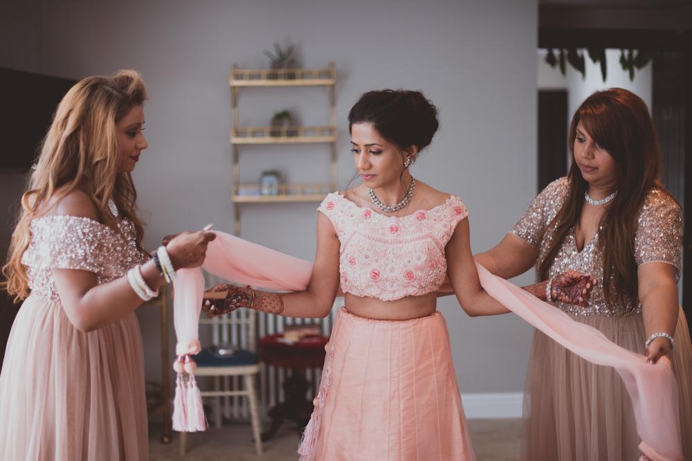 Bride Bridal Outfit Pink Newton Hall Wedding Sasha Weddings