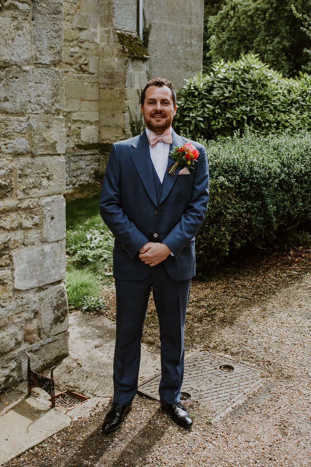Blue Suit Groom Pink Bow Tie Notley Abbey Wedding Alexandra Jane Photography