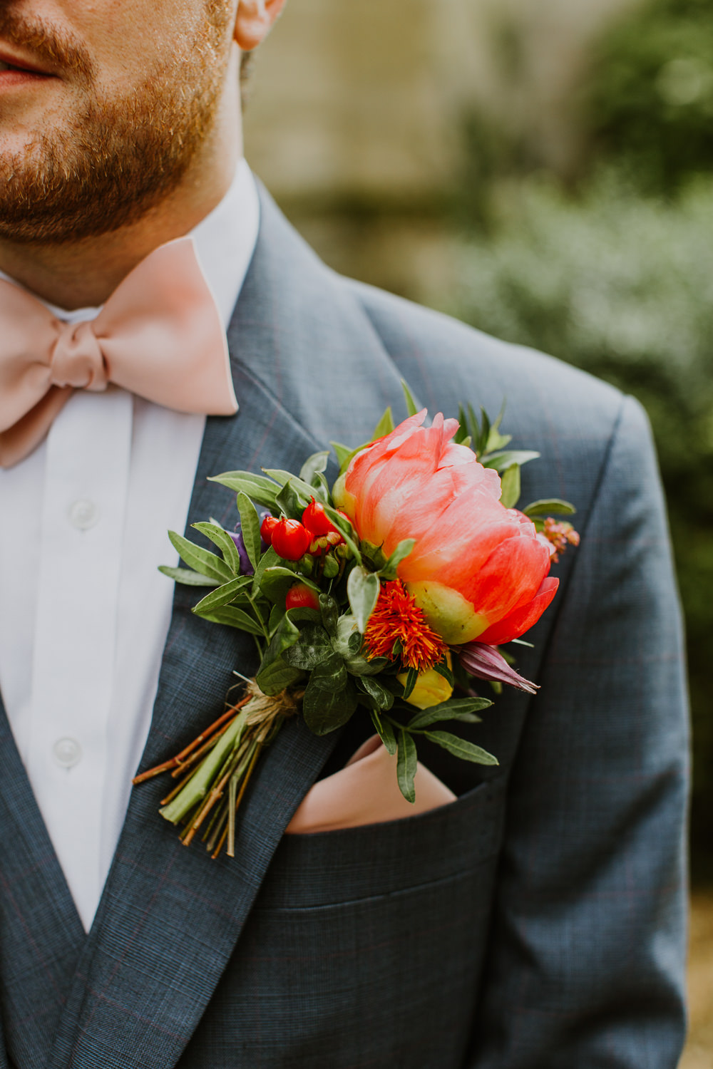 Blue Suit Groom Pink Bow Tie Large Buttonhole Flower Peony Peonies Notley Abbey Wedding Alexandra Jane Photography