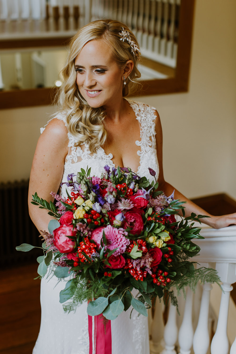 Bouquet Flowers Bride Bridal Pink Red Purple Greenery Foliage Peony Rose Ribbons Notley Abbey Wedding Alexandra Jane Photography