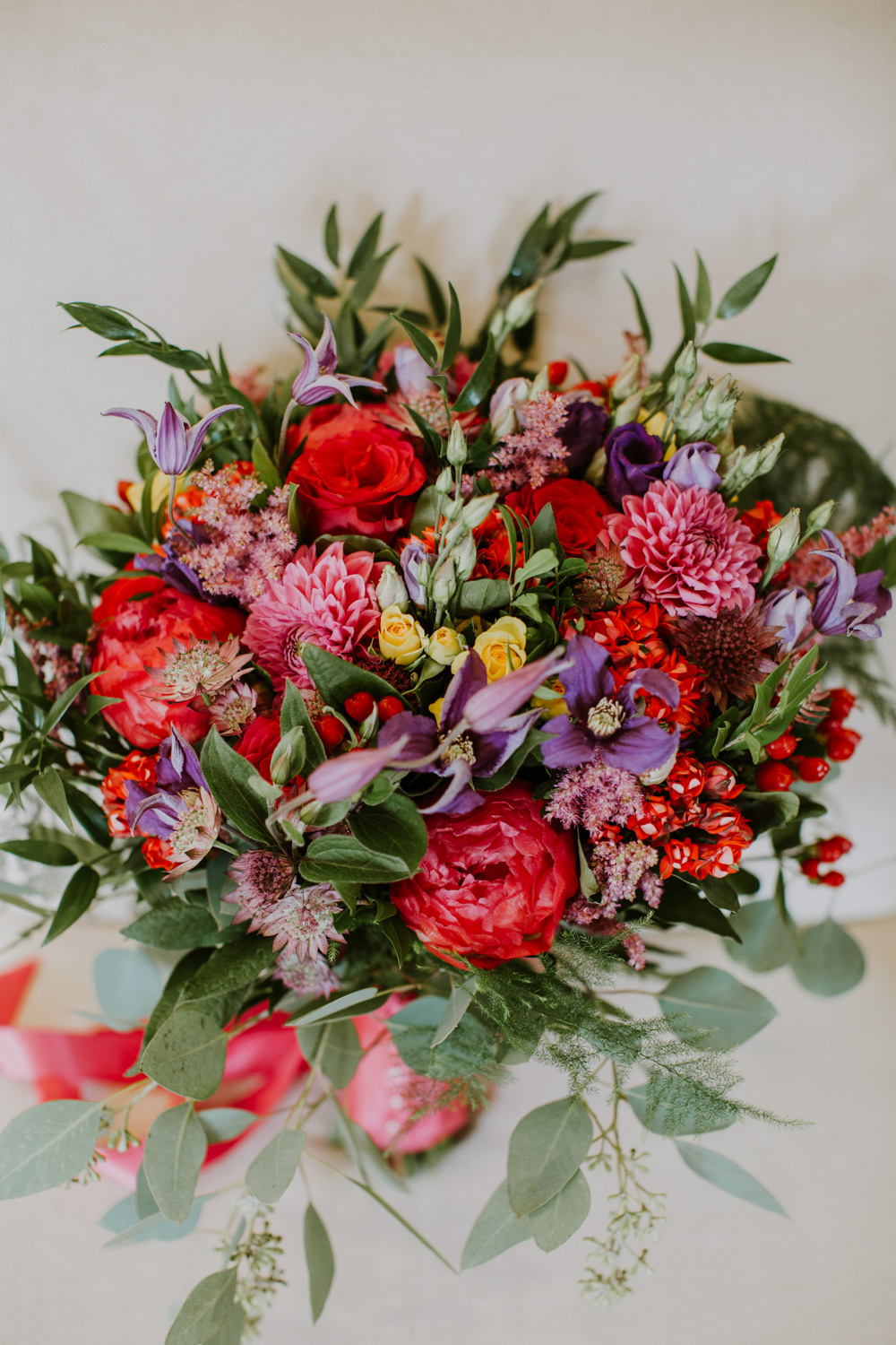 Bouquet Flowers Bride Bridal Pink Red Purple Greenery Foliage Peony Rose Notley Abbey Wedding Alexandra Jane Photography
