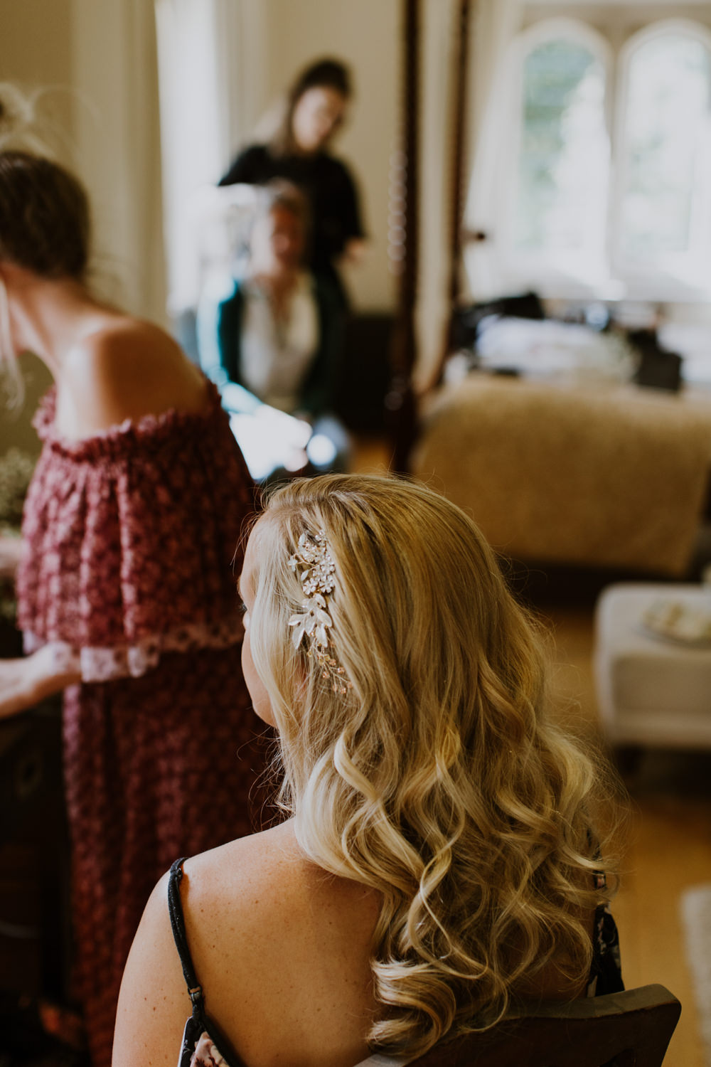 Hair Bride Bridal Waves Long Accessory Notley Abbey Wedding Alexandra Jane Photography