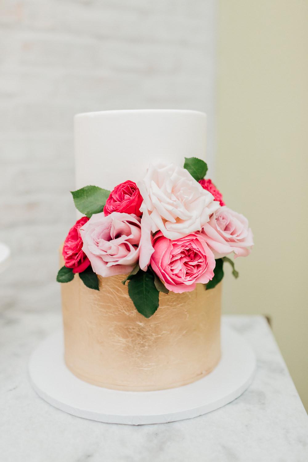 Gold Cake Floral Flowers Romantic Soft Elopement Wedding Las Vegas Kristen Joy Photography