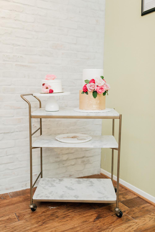 Cake Trolley Table Marble Gold Romantic Soft Elopement Wedding Las Vegas Kristen Joy Photography