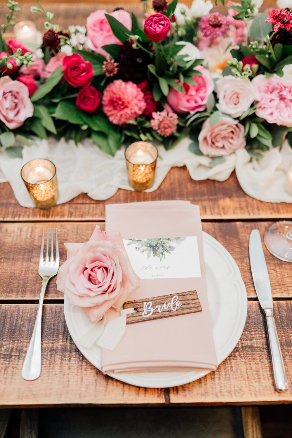 Place Setting Name Tag Calligraphy Flowers Pink Romantic Soft Elopement Wedding Las Vegas Kristen Joy Photography