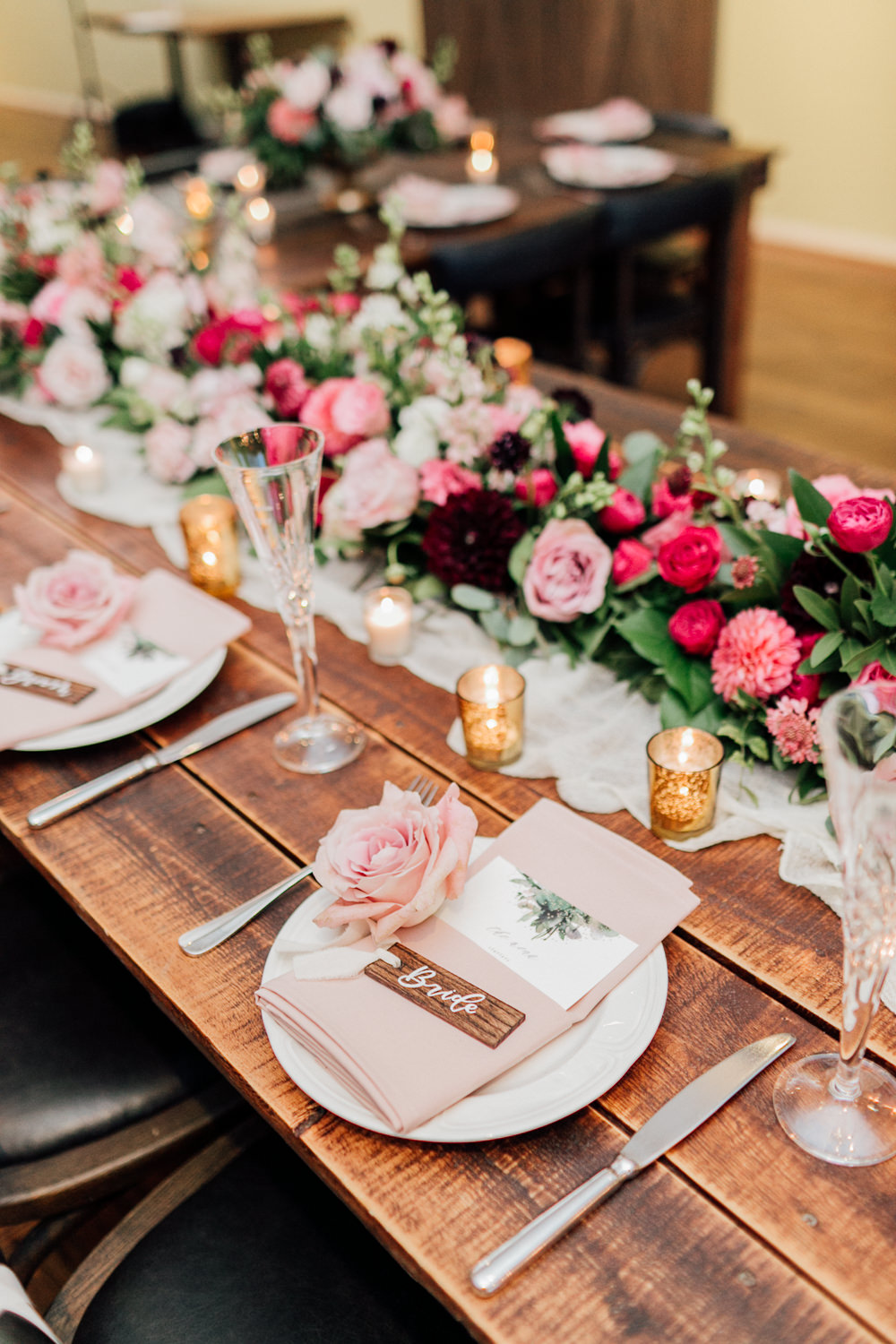 Table Tablescape Decor Flowers Swag Runner Garland Red Pink Rose Dahlia Centrepiece Candles Romantic Soft Elopement Wedding Las Vegas Kristen Joy Photography