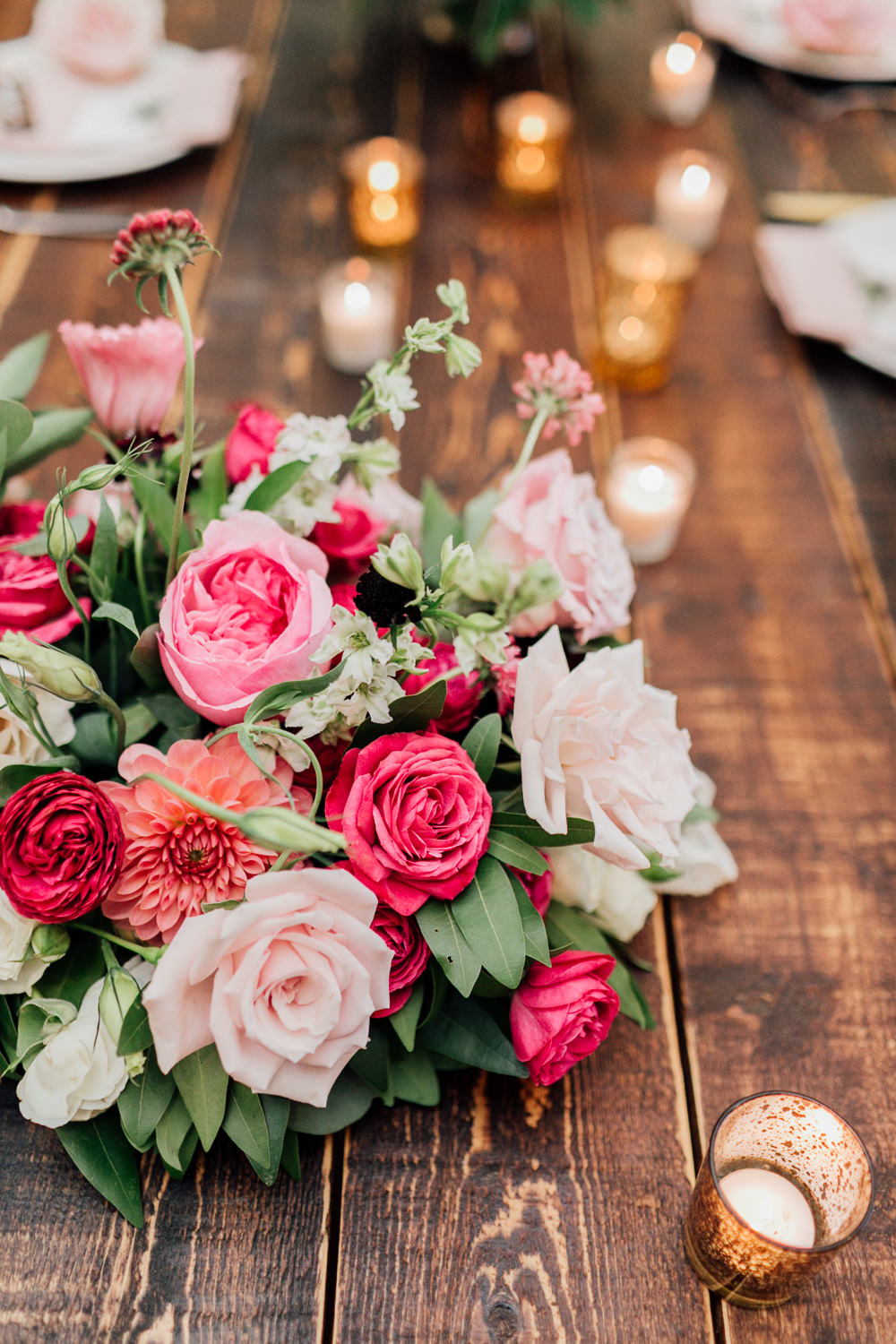 Table Tablescape Decor Flowers Swag Runner Garland Red Pink Rose Dahlia Centrepiece Romantic Soft Elopement Wedding Las Vegas Kristen Joy Photography