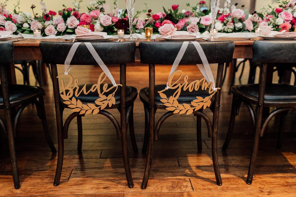 Bride Groom Chair Signs Gold Romantic Soft Elopement Wedding Las Vegas Kristen Joy Photography