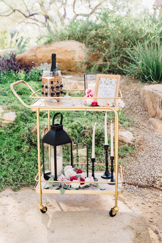 Drinks Trolley Gold Romantic Soft Elopement Wedding Las Vegas Kristen Joy Photography