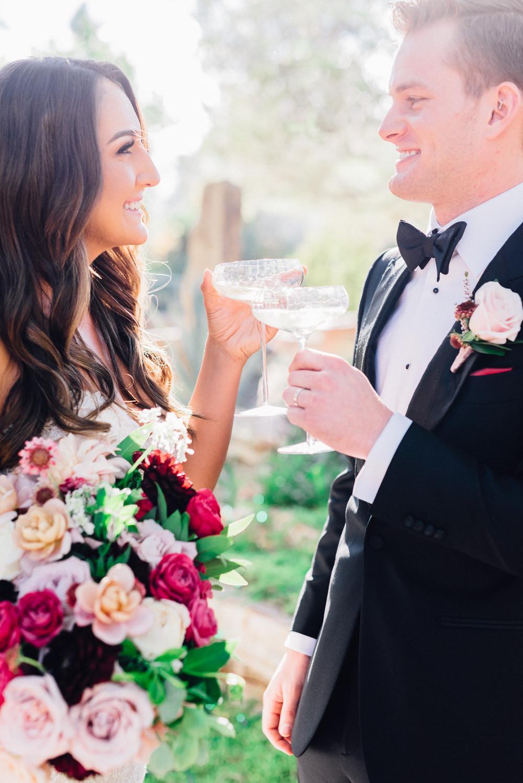 Cocktails Bride Groom Romantic Soft Elopement Wedding Las Vegas Kristen Joy Photography