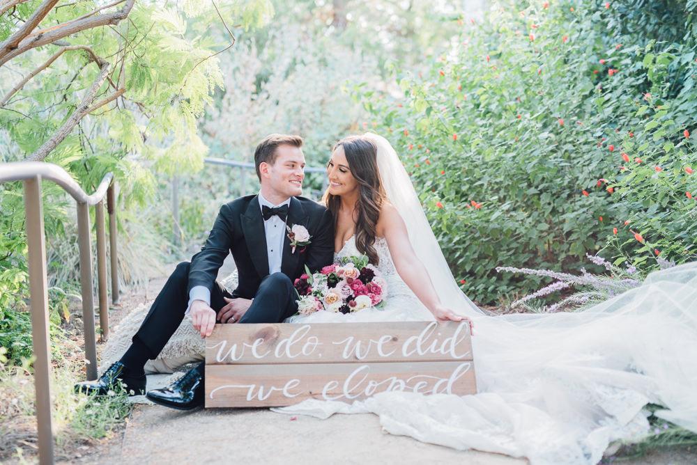 Wooden Sign Bride Groom Romantic Soft Elopement Wedding Las Vegas Kristen Joy Photography