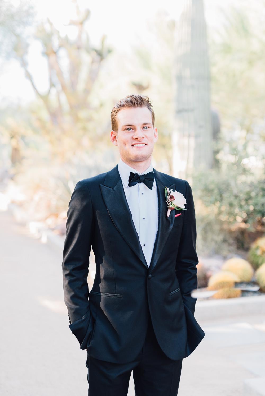 Groom Tuxedo Bow Tie Romantic Soft Elopement Wedding Las Vegas Kristen Joy Photography