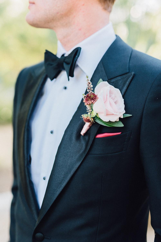 Groom Buttonhole Rose Pink Romantic Soft Elopement Wedding Las Vegas Kristen Joy Photography