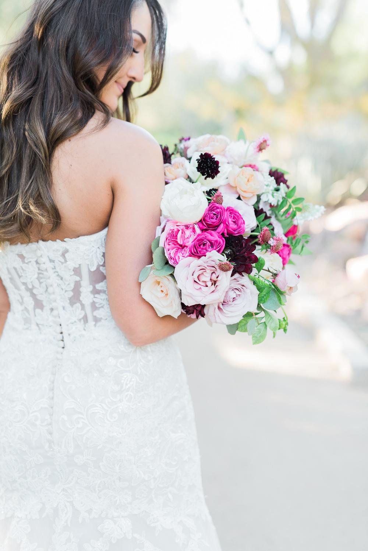 Bouquet Flowers Bride Bridal Pink Dahlia Rose Blush Romantic Soft Elopement Wedding Las Vegas Kristen Joy Photography
